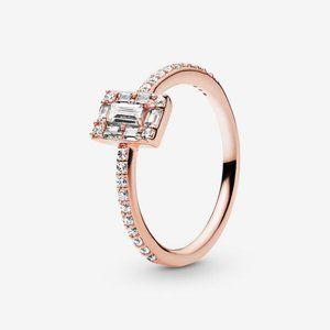 😋Pandora  Sparkling Square Halo Ring